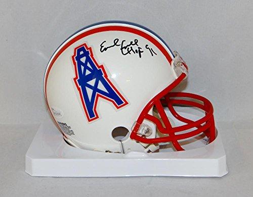 - Earl Campbell Signed Houston Oilers 81-96 TB Mini Helmet W/HOF- JSA W Auth Blk