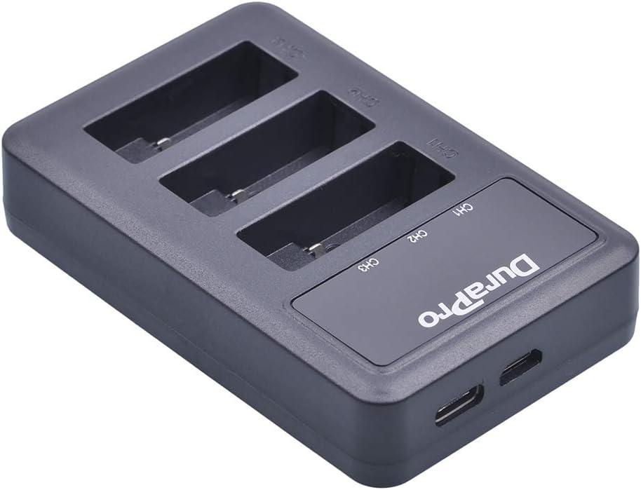 DuraPro 1600 mAh, incluye cargador USB de 3 ranuras, compatible con GoPro Hero5 All Firmwares v02.00, v02.01 Bater/ía para GoPro Hero 7 Hero 6//5