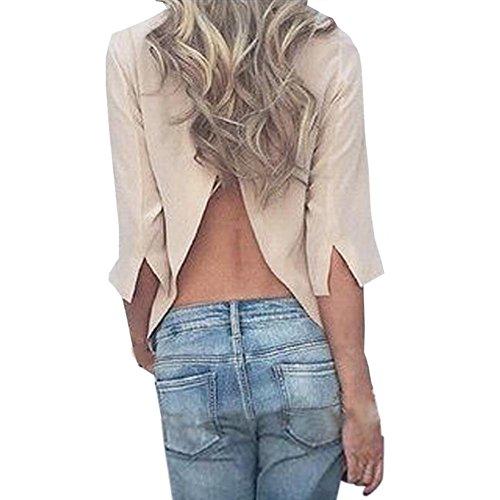 SFE 2018 New Women Girls 3/4 Sleeve Sexy Open Back Split Casual Tank Loose Stretchy Shirts Tops (XL, Khaki)