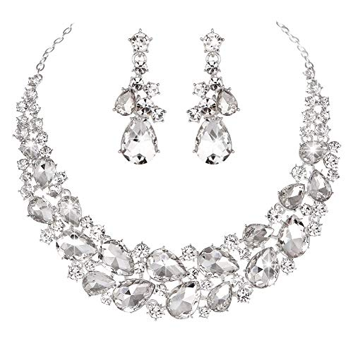 Yucii Austrian Rhinestone Teardrops Necklace and Earrings Jewelry Sets for Women Wedding Party Dress,Clear (Horseshoe Design Swarovski Clear Crystal)