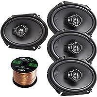 Car Speaker Package Of 4x (2 Pairs) Kenwood KFC-C6895PS 720-Watt 6x8 Inch 3-Way Performance Series Coaxial Speakers Bundle Combo With Enrock 16-Gauge 50 Feet Speaker Wire
