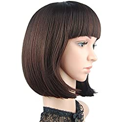 "eNilecor Short Bob Hair Wigs 12"" Straight with Flat Bangs Synthetic Colorful Cosplay Daily Party Wig for Women Natural As Real Hair+ Free Wig Cap (Dark Brown)"