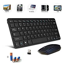 Bestdeal Black Wireless Mini Ultra Slim Keyboard and Mouse for Lenovo ThinkPad T450 / ThinkPad T450s Laptop