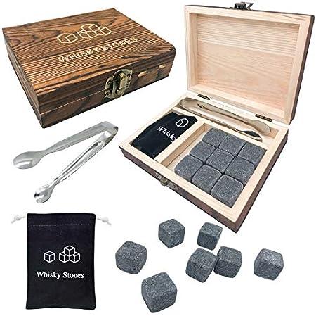 Caja de regalo de piedra de whisky, juego de 9, Reutilizables Cubitos de Hielo para Whisky - Caja de regalo de madera