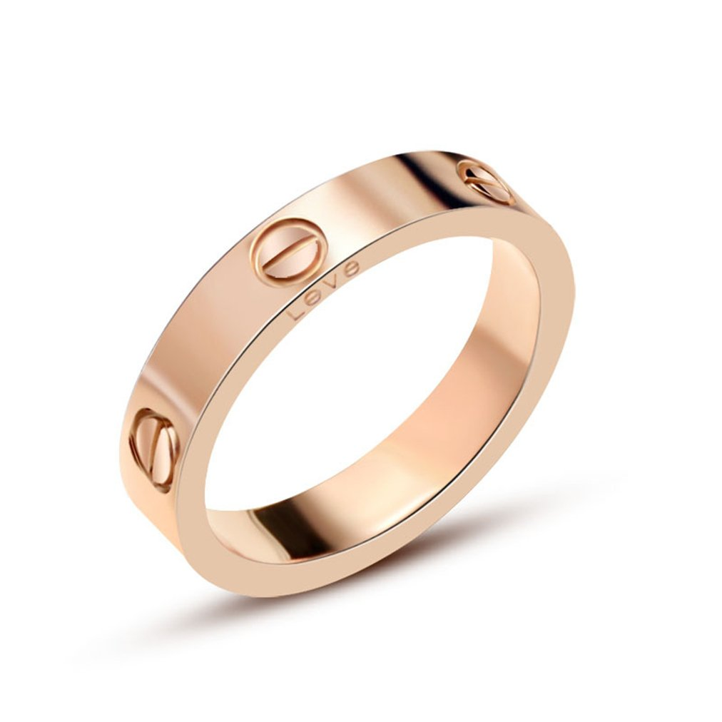 HIMAN Rose Gold Love Ring Couples Promise Engagement Wedding Band Titanium Stainless Steel Size 6