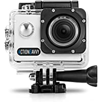 ActionSavvy 007 1080P HD Action Camera 50m/164feet Waterproof 15 Mounts 2 Screen HDMI Diving Helmet Surfing Snorkeling Biking Camera