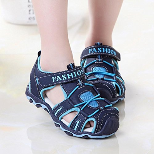 VEMOW New Kids Shoes Baby Boy Girl Sandals Warm Ankle Boots Zipper Child Chelsea Sports Outdoor Flats Flip Flops Lace-up Toddler Closed Toe Summer Beach Sneakers A-dark Blue oV6f2e