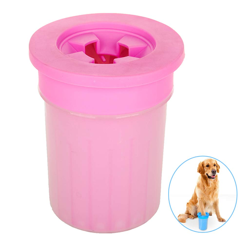 QZY Pet Dog Foot Cup Brush Washing Artifact,Cat Cleaning Tool Soft Plastic Claw Foot Cleaning Cup,Durable Playable Bite, Pet Toy,Anti-Fall-Side Wall-Leakage,Pink,M