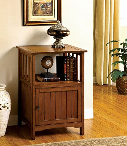 - Sanca I Antique Oak Solid Wood Finish Mission Style Telephone Stand with Single Door