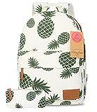 FITMYFAVO Backpack for Girls with Multi-Pockets | School Bookbag Daypack Travel Bag (BP101. Pineapple & Wallet)