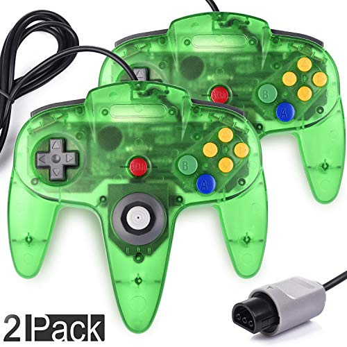 2 Pack Classic Controller for N64 Gaming, miadore Wired Retro Game Pad Joystick Remote Joypad for N64 Video Game System N64 Console - Jungle Green from miadore