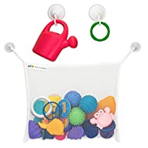 Hello Little Monsters Bath Tub Organizer - Keep Baby Toys Dry and without Mold - The mesh bag is easy to install, durable and holds a lot of Toys - 2x Extra Suction Cups with Hooks