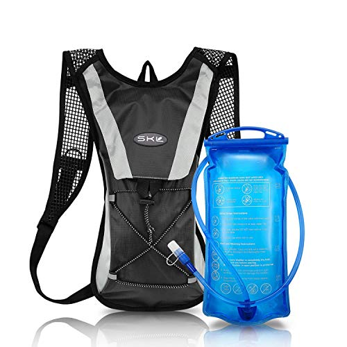 SKL Hydration Pack Water Backpack with Water Bladder 2L BPA Free Hydration BackPack For Running Cycling Biking Hiking Climbing Skiing Hunting Pouch (Black)
