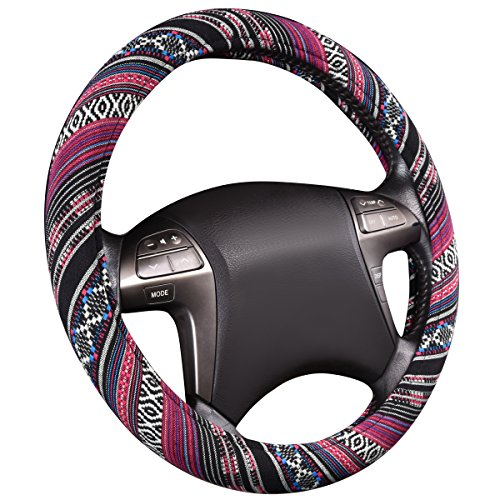Covers Steering Superior Wheel (CAR PASS Pretty Ethnic Style Flax Cloth Universal fit Steering Wheel Cover, for most of vehicles,cars,Suv,Vans,fashionable and anti-slip design)
