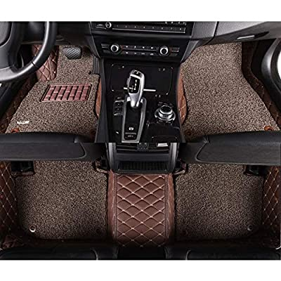 AOYMEI Car Floor Mats for 2012-2020 Dodge Ram Crew Cab Double Layer Leather Fully Surrounded Removable Wire Loop All-Weather Waterproof Car Mats (Coffee): Automotive