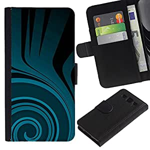 KingStore / Leather Etui en cuir / Samsung Galaxy S3 III I9300 / Patrón trullo Flow Negro Oscuro