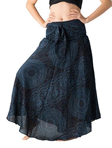 Bangkokpants Women's Long Hippie Bohemian Skirt Gypsy Dress Boho Clothes Flowers One Size Fits (Blossom Navy, One Size)