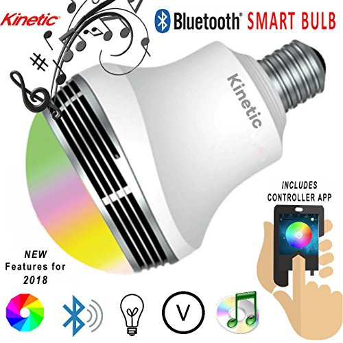 Kinetic Bluetooth Speaker Color Changing Light Bulb Smartphone Ready with Remote Control Smart Light Bulb Multicolored Disco Light Sleeping Light Memory Function Mood Light Stage Nightclub Party Light