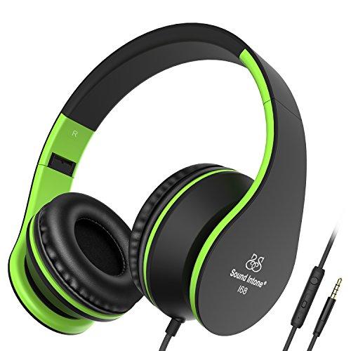 Kinder Erwachsene Kopfhörer Honstek 2017 Neue Stereo Kopfhörer Klapp Design Over Ear Kopfhörer für Smartphones iPhone Samsung Laptops iPod iPad mit Micro und In line Lautstärkeregler Black Green