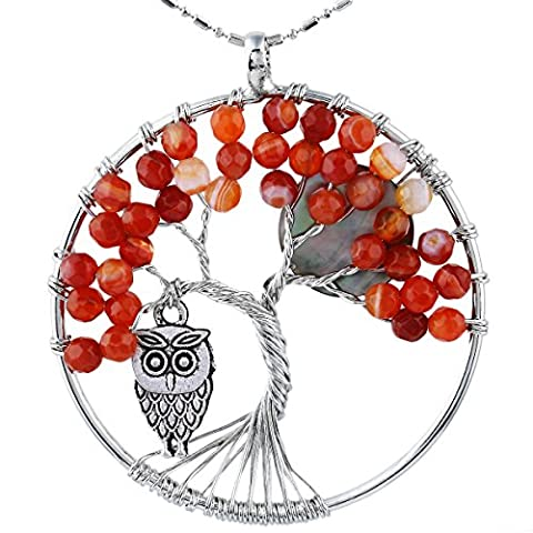 SUNYIK Faceted Agate Tree of Life Necklce, Wire Wrapped Pendant Owl and Moon,Red - Life Pendant Wire