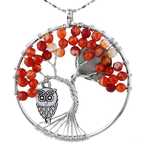 (SUNYIK Faceted Agate Tree of Life Necklce, Wire Wrapped Pendant Owl and Moon,Red)