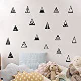 48 pieces/ Set Nordic Style 10 Different Mountain Triangles Pattern Wall Decal-Kid Nursery Bedroom Vinyl Geometric Tribal Wall Stickers Baby Decal Living Room Wall Decals (Black)