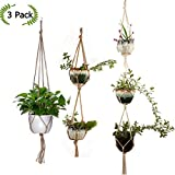 3 Packs Macrame Cotton Hemp Net Rope Plant Hanger, Manual Woven Hanging Rope Basket, Succulents Flowers Pot Bracket for Indoor Outdoor Garden Home Wall