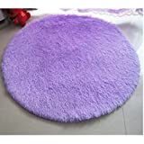 """Princess Dream Round Shaggy Area Rugs and Carpet Super Soft Bedroom Carpet with a Heart Rug,for Kids Play ,Round 47.2"""" (Purple)"""