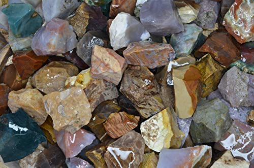 Fantasia Materials: 2 lbs of Assorted Types of Fancy Jasper Rough Stones from India - Natural Rock Crystals for Tumbling, Home Décor, Wire Wrapping, Cutting, Lapidary, Reiki and More!