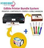 Icinginks Latest Edible Printer Bundle, Includes 50 Edible Sheets, Edible Cartridges, Edible Markers