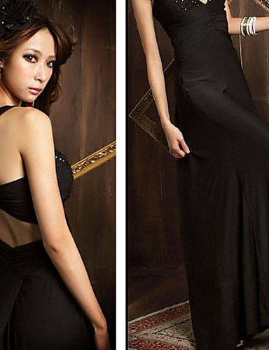 PU&PU Robe Aux femmes Trompette/Sirène Sexy / Soirée , Couleur Pleine A Bretelles Maxi Autres , black-one-size , black-one-size