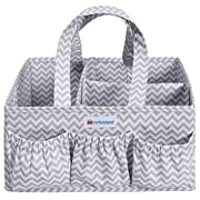 Nurtureland Diaper Caddy Storage Organizer With Baby Changing Mat - Light Portable Nursery Holder With Adjustable Basket Inserts
