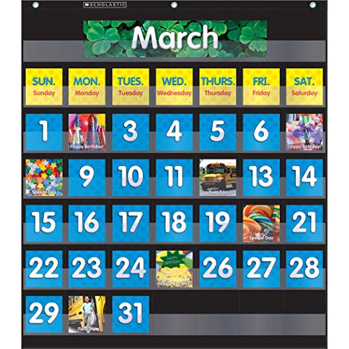 Scholastic SC-583866 Monthly Calendar Pocket Chart with Cards, Black]()