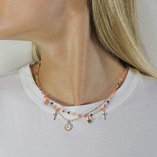 Collar gargantilla Dvccio Iris dos hilos piedras naranja plata rosa letra P mujer Y5547FM  OMMV4Y