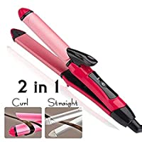 MAXELNOVA 2-in-1 Ceramic Plate Combo Beauty Set of Hair Straightener Plus Curler