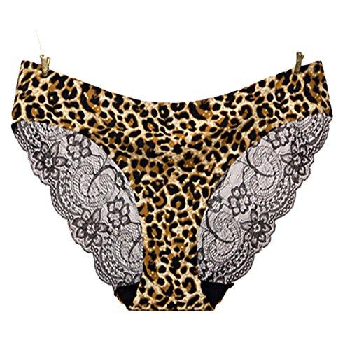 - Lace Sexy Ladies Panties Pure Color Ice Silk One-Piece Seamless Underwear Cotton Low Waist Briefs (Leopard Print, M)
