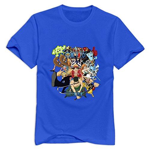 Yisw Men's One Piece Luffy Big Fist T-Shirt XXL RoyalBlue Unique Cool Tees Shirt