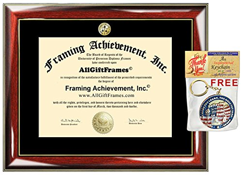 College Diploma Frame with Choice of University Major Gold Seal Insignia Single Black Mat College Degree Frames Graduation Diploma Framing Gift Certificate Prestige Mahogany by AllGiftFrames (Image #4)