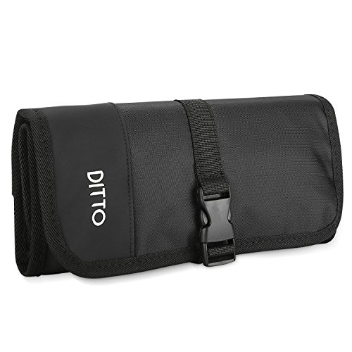 Ditto Electronics Organizer Travel Bag, Small Electronics Accessories Cable Carrying Case Roll Up Pouch for Hard Drives Cables Charger SD Memory Cards Earphone Pen -Black