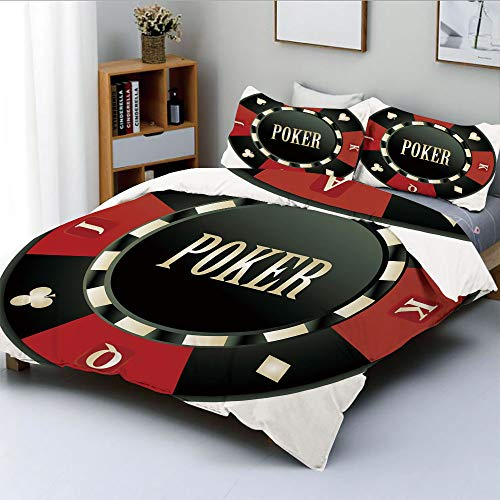 Duplex Print Duvet Cover Set Full Size,Casino Chip with Poker Word in Center Rich Icon Card Suits DecorativeDecorative 3 Piece Bedding Set with 2 Pillow Sham,Army Green Vermilion White,Best Gift - Poker Dead Walking Set