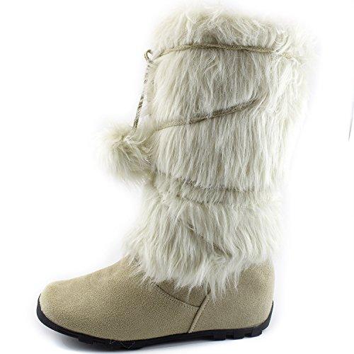 Womens Dailyshoes Warmer-02 Stivali Mukluk Faux Fur Punta Rotonda Stivaletto Alla Caviglia Alto Inverno Ghiaccio Scamosciato