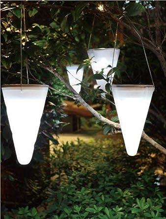 Solalux 3er Set Hangende Kegelformige Solar Gartenleuchten Eis Weiss Led Leuchten Aussenbeleuchtung Baumdekoration