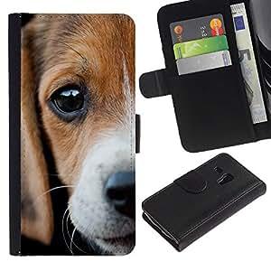 LASTONE PHONE CASE / Lujo Billetera de Cuero Caso del tirón Titular de la tarjeta Flip Carcasa Funda para Samsung Galaxy S3 MINI NOT REGULAR! I8190 I8190N / Beagle Eyes Sad Cute Puppy Pet
