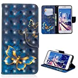 iPhone 6S Plus Case, iPhone 6 Plus Case Wallet Flip Art 3D Painting Leather Kickstand Cover Shockproof Bumper Soft Drop Protection Skin Magnetic Closure Shell for iPhone 6/6S Plus Edauto - Blue