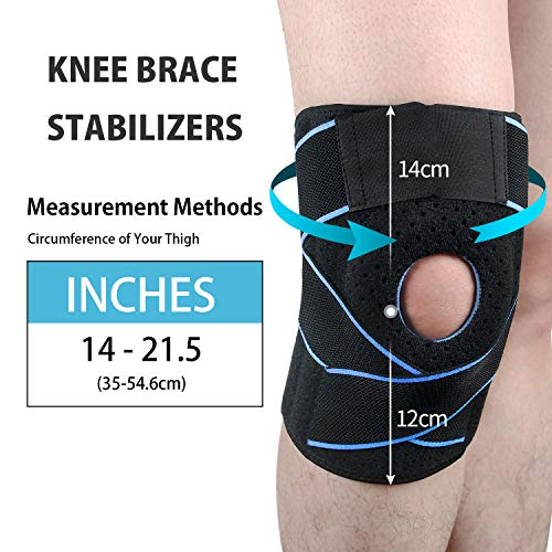 Adjustable Pressurized Knee Brace Knee Support with Side Stabilizers & Patella Gel Pads for Recovery Aid, Patellar Tendon, Arthritis, Basketball, Running, Hiking and Gym,Knee Pads (Green, Free Size)
