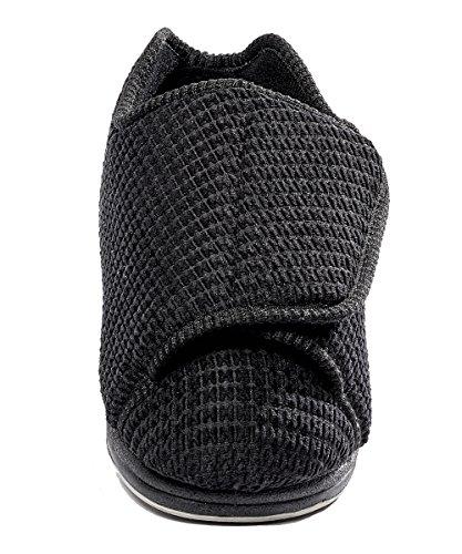 f1c17ee9145 Womens Extra Extra Wide Width Adjustable Slippers - Diabetic   Edema  Footwear - Black 7