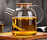 55 oz teapot - Lasven Premium Quality Hand-Made Glass Teapot Kettle -Stovetop Safe-Heat and Cold Resistant High Borosilicate Glass Pitcher,Carafe-Blooming and Loose Leaf Tea-No Dripping (1600ml/55ounce)