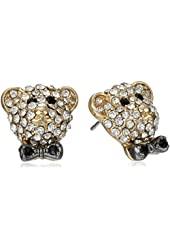 """Betsey Johnson """"A Day at the Zoo"""" Pave Crystal Bear Stud Earrings"""