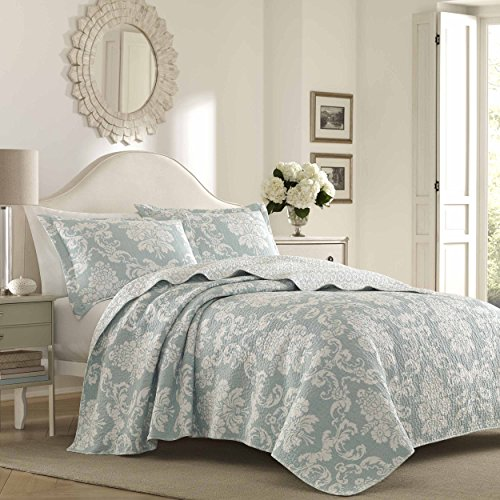 Laura Ashley Venetia Duck Egg Quilt Set, King,