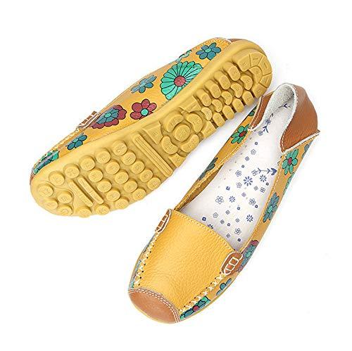 ZHRUI Stampa dimensioni di grandi dimensioni Stampa Scarpe da donna Appartamenti Comfort Nurse Slip On Casual Soft Loafers (Colore : Giallo, Dimensione : EU 43) Giallo a22b43
